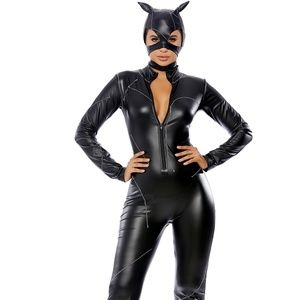 Claws Out Catwoman Costume Catsuit Ears Mask 2pc
